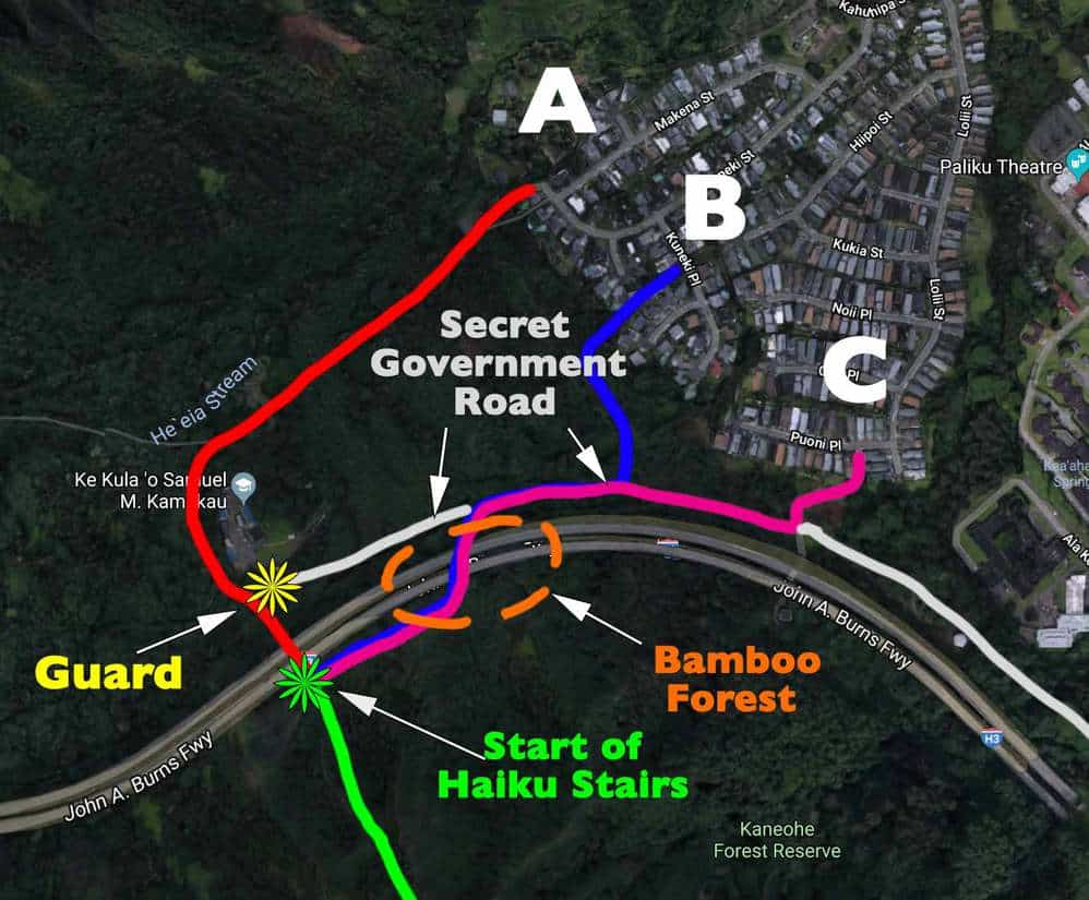 Haiku Stairs Map