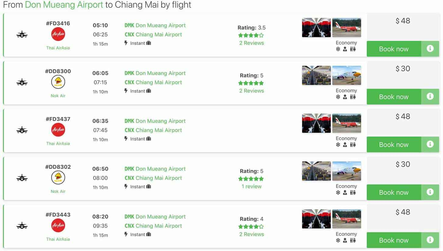 screenshot flight prices from bangkok